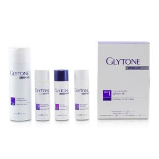 GLYTONE REJUVENATE SYSTEM KIT: GEL WASH 200ML + FACIAL LOTION 60ML + EXFOLIATING LOTION 60ML + PEEL GEL 60ML (NORMAL TO OILY SKIN) 4PCS