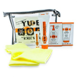 YU-BE HEEL & ELBOW REPAIR KIT: MOISTURIZING SOCK 1 PAIR + SKIN CREAM 31ML & 3ML + FOAMING SKIN POLISH 4ML + BODY LOTION 5ML 5PCS+1BAG