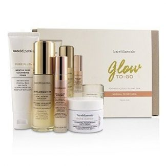 BAREMINERALS GLOW TO-GO STARTED KIT (NORMAL TO DRY SKIN): PURE PLUSH 50G+SKINLONGEVITY 30ML+BRILLIANT FUTURE 9.5M 4PCS