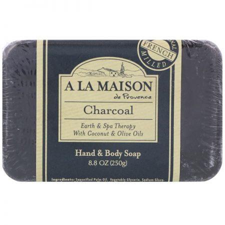 A LA MAISON DE PROVENCE, HAND & BODY BAR SOAP, CHARCOAL, 8.8 OZ / 250g