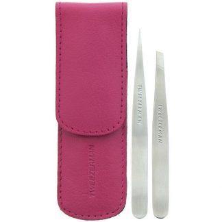 Tweezerman, Petite Tweeze Set with Pink Leather Case, 1 Set