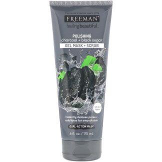 Freeman Beauty, Feeling Beautiful, Polishing Gel Mask + Scrub, Charcoal + Black Sugar, 6 fl oz (175 ml)