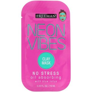 Freeman Beauty, Neon Vibes, No Stress, Oil Absorbing Clay Mask, 0.33 fl oz (10 ml)
