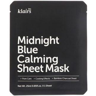 Dear, Klairs, Midnight Blue Calming Sheet Mask, 1 Sheet, 0.85 fl oz (25 ml)