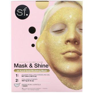 SFGlow, Mask & Shine, 24 Karat Gold Modeling Mask, 4 Piece Kit