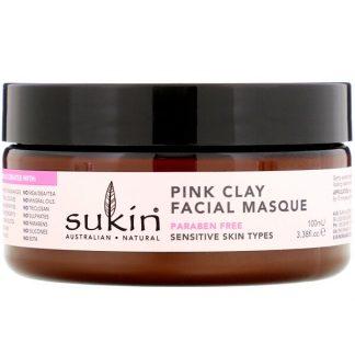 Sukin, Pink Clay Facial Masque, Sensitive, 3.38 fl oz (100 ml)