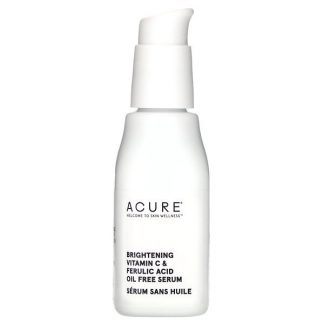 Acure, Brightening Vitamin C & Ferulic Acid Oil Free Serum, 1 fl oz (30 ml)
