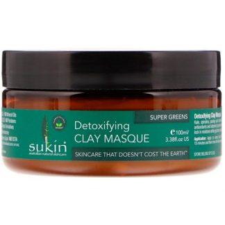Sukin, Super Greens, Detoxifying Clay Masque, 3.38 fl oz (100 ml)