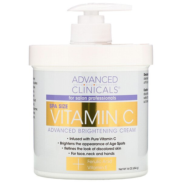 Advanced Clinicals, Vitamin C, Advanced Brightening Cream, 16 oz (454 g)