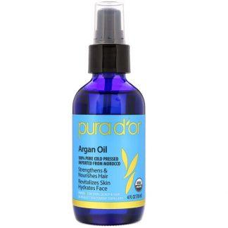 Pura D'or, Organic Argan Oil, 4 fl oz (118 ml)