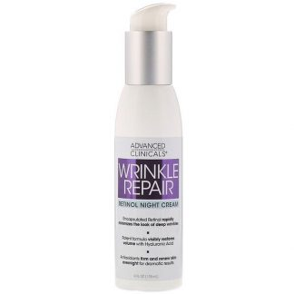 Advanced Clinicals, Wrinkle Repair, Retinol Night Cream, 4 fl oz (118 ml)