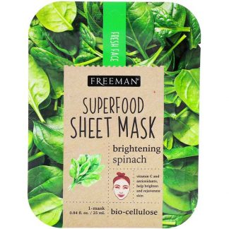 Freeman Beauty, Superfood Sheet Mask, Brightening Spinach, 1 Mask