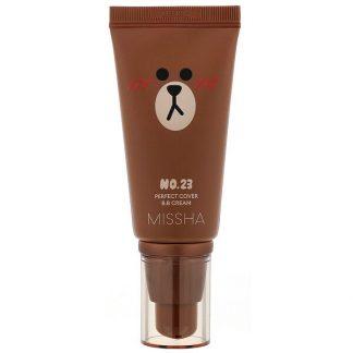 Missha, Line Friends Edition, M Perfect Cover B.B Cream, SPF 42 PA+++, No. 23 Natural Beige, 1.7 oz (50 ml)