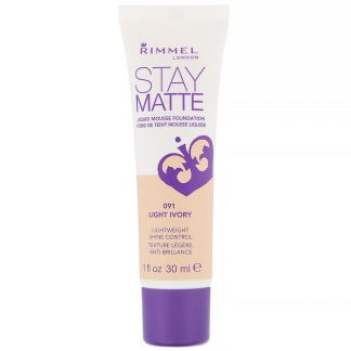 Rimmel London, Stay Matte Liquid Mousse Foundation, 091 Light Ivory, 1 fl oz (30 ml)