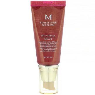 Missha, M Perfect Cover B.B Cream, SPF 42 PA+++, No. 23 Natural Beige, 1.7 oz (50 ml)