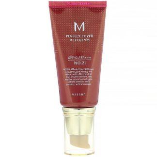 Missha, M Perfect Cover B.B Cream, SPF 42 PA+++, No. 21 Light Beige, 1.7 oz (50 ml)