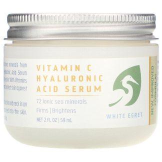 White Egret Personal Care, Vitamin C Hyaluronic Acid Serum, 2 fl oz (59 ml)