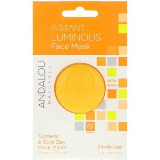Andalou Naturals, Instant Luminous, Turmeric & Gold Clay Face Mask, .28 oz (8 g)