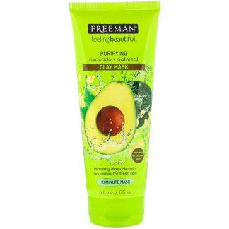 Freeman Beauty, Feeling Beautiful, Purifying Clay Mask, Avocado + Oatmeal, 6 fl oz (175 ml)